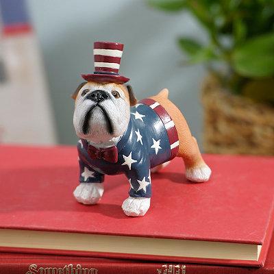 Patriotic Bulldog Statue