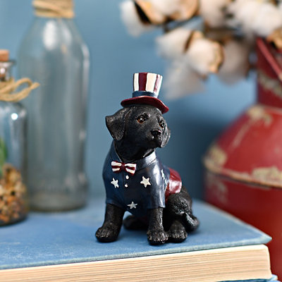Patriotic Black Lab Statue