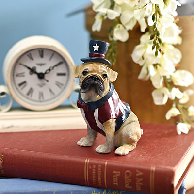 Patriotic Pug Statue