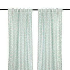 Cannes Aqua Curtain Panel Set, 84 in.