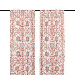 Clare Coral Curtain Panel Set, 84 in.
