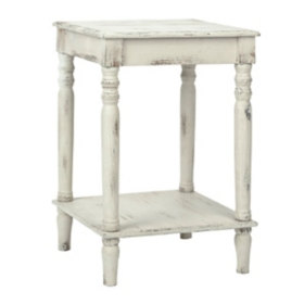 Distressed Cream Side Table