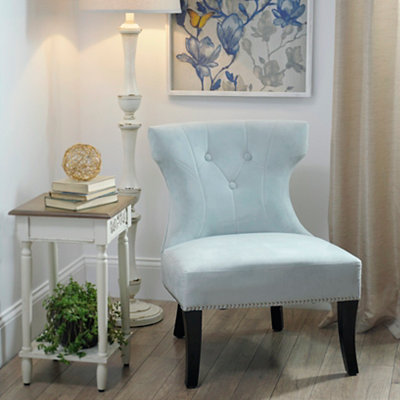 Blue Hourglass Accent Chair