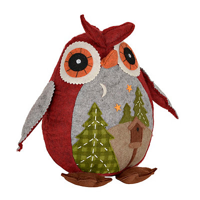 Plush Patchwork Birdhouse Owl
