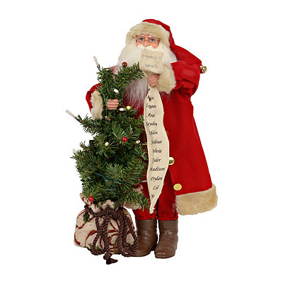 Santa Brings the Tree Figurine