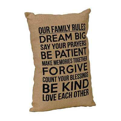 Family Rules Burlap Pillow
