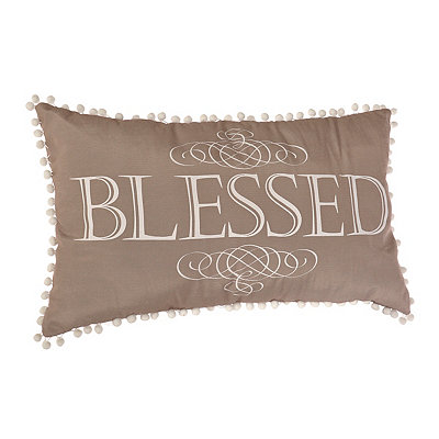 Blessed Pom Pom Accent Pillow