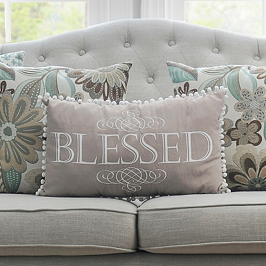 Blessed Pom Pom Accent PillowThrow Pillows   Decorative Pillows   Kirklands. Living Room Accent Pillows. Home Design Ideas