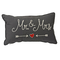 Gray Stitched Mr. and Mrs. Accent Pillow