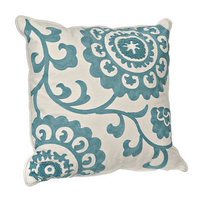 Aqua Suzani Stitched Pillow