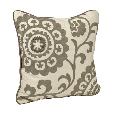 Gray Suzani Stitched Pillow