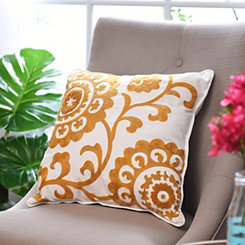 Yellow Suzani Stitched Pillow
