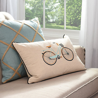 Embroidered Aqua Bicycle Accent Pillow