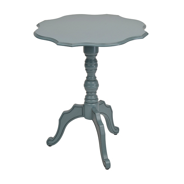 Side Table distressed blue scalloped round side table | kirklands