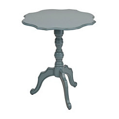Distressed Blue Scalloped Round Side Table