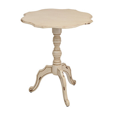 Distressed Ivory Scalloped Round Side Table
