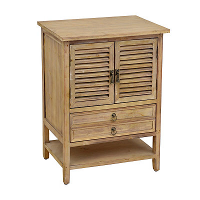 Natural Wood Shutter Side Table
