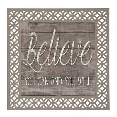 Laser Cut Believe Wood Plaque
