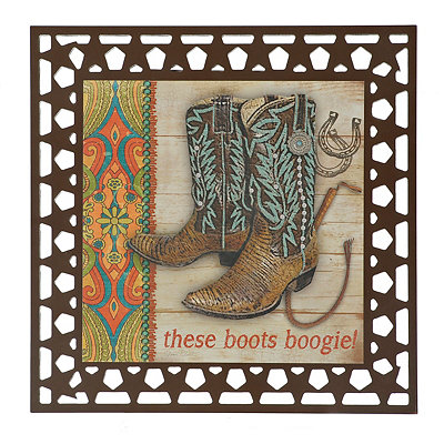 Laser Cut Boogie Boots Wood Plaque