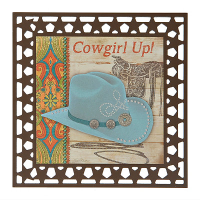 Laser Cut Cowgirl Up Wood Plaque