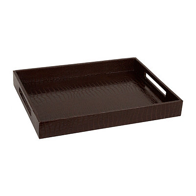 Faux Leather Brown Crocodile Tray