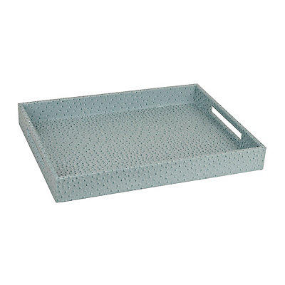 Faux Leather Light Blue Ostrich Tray