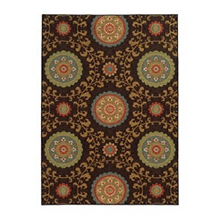 Brown Medallion Antioch Area Rug, 5x7