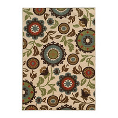 Abstract Floral Antioch Area Rug, 5x7