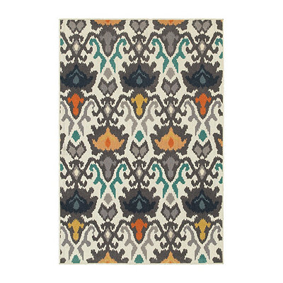 Ivory Abstract Walker Area Rug, 5x8