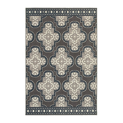 Gray Medallion Trim Walker Area Rug, 5x8