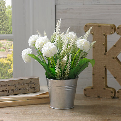 White Mum Tin Pot Arrangement