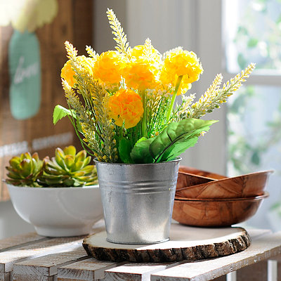Yellow Mum Tin Pot Arrangement