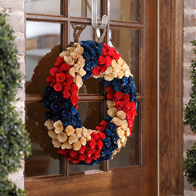 Red, White, and Blue Wood Curl Flower Wreath
