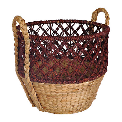 Large Open Weave Red Top Basket