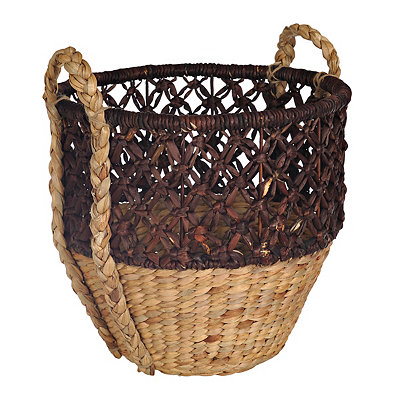 Medium Open Weave Brown Top Basket