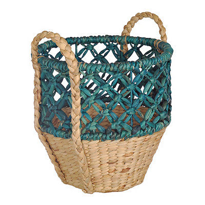 Small Open Weave Turquoise Top Basket