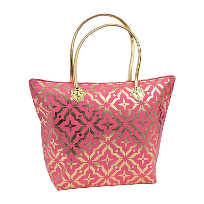 Coral Metallic Gold Tote Bag