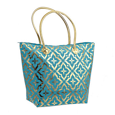 Turquoise Metallic Gold Tote Bag