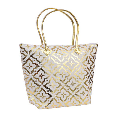 White Metallic Gold Tote Bag