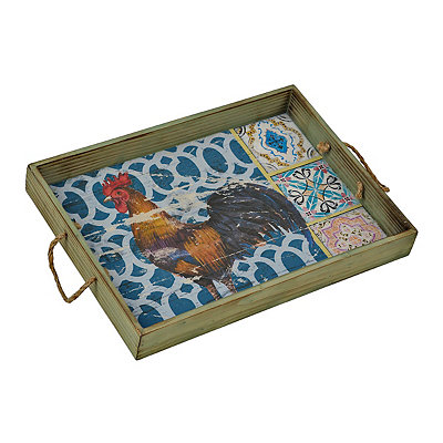 Painted Rooster Tile Tray
