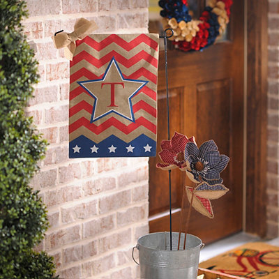 Patriotic Chevron Monogram T Flag Set