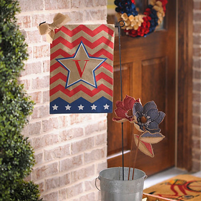 Patriotic Chevron Monogram V Flag Set
