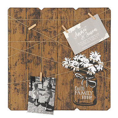 Mason Jar Wood Plank Clothespin Collage Frame