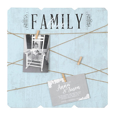 Family Love Wood Plank Clothespin Collage Frame
