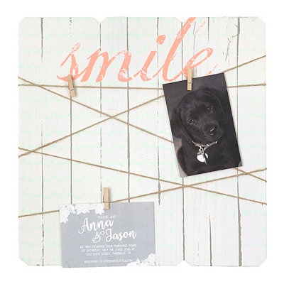 Smile Wood Plank Clothespin Collage Frame