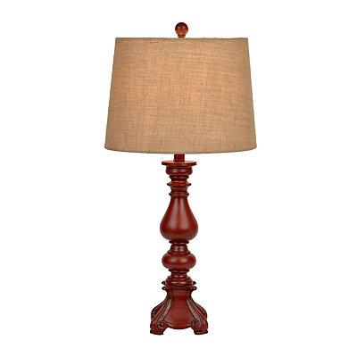 Distressed Mandarin Red Table Lamp