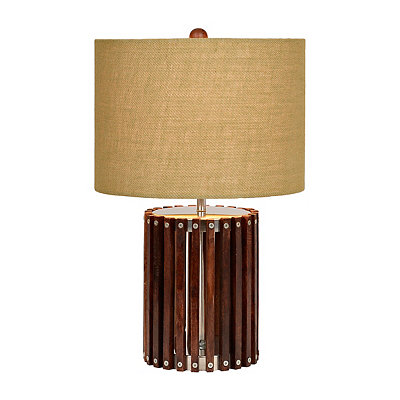 Dark Wood Slat Table Lamp
