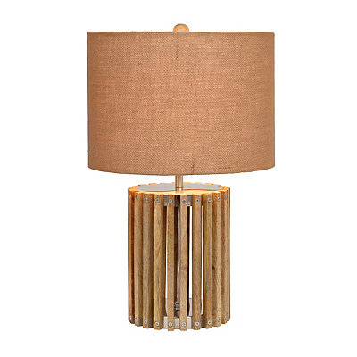 Natural Wood Slat Table Lamp