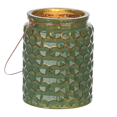 Green Honeycomb Jewel Tone Lantern