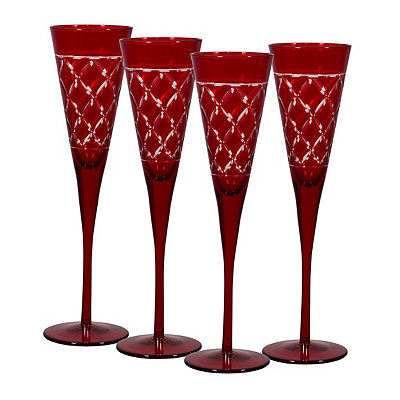 Red Etched Glass Flutes, Set of 4